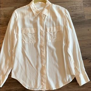 Madewell Eliot ivory/off-white silk shirt